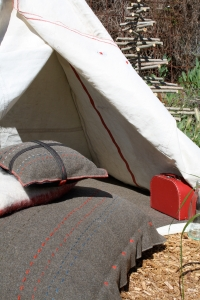 Teepee and army blanket cushions
