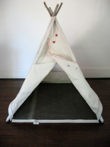 Teepee front view flaps open